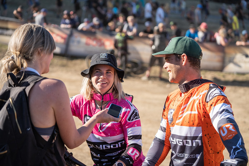 Tracey and Mick make start of international downhill racing season a family affair, with most high profile shared podium