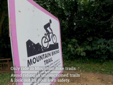 """The Singapore Cycling Federation and PUB jointly created a trail etiquette video on the SCF YouTube Channel to highlight some of the recommended etiquette when riding the mountain bike trails in Singapore. This video came at a good time with the recent changes to certain trail sections marked as """"Prohibited"""" to """"Trail Usage Advisory""""."""